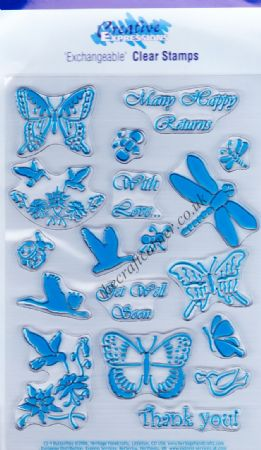 Butterfly & Insects 18 Clear Unmounted Rubber Stamps Set